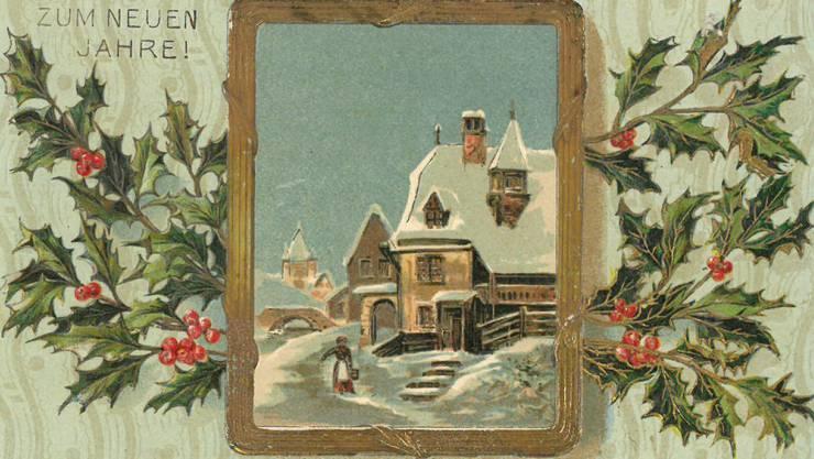 «Viel Glück zum neuen Jahre» wurde am 4. Januar 1909 verschickt. Eine geprägte Karte mit Stechpalmen-Motiv – damals sehr beliebt.