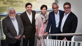 Der Vorstand mit (v.l.) Beat Rüetschi, Gemeindepräsident Suhr; Hans-Peter Zehnder, Zehnder Group, Maja Riniker, Grossrätin (FDP), Rudolf Obrecht, Möbel Pfister AG, Peter Fischer, Fischer Reinach AG. psi