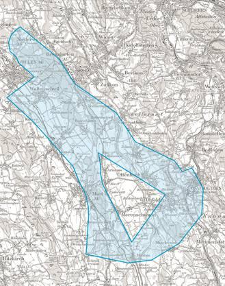 Das ausgeweitete Planungsgebiet für die Starkstromleitung Niederwil–Obfelden.