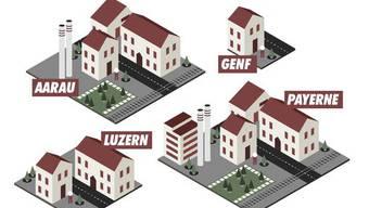 Acht Mal mehr Platz zum Leben haben die Einwohner von Payerne im Vergleich zur engsten Schweizer Stadt: Genf