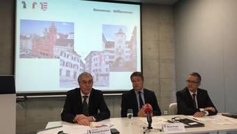 Stellen die neue BaselArea vor: Christoph Brutschin, Michel Probst und Thomas Weber.