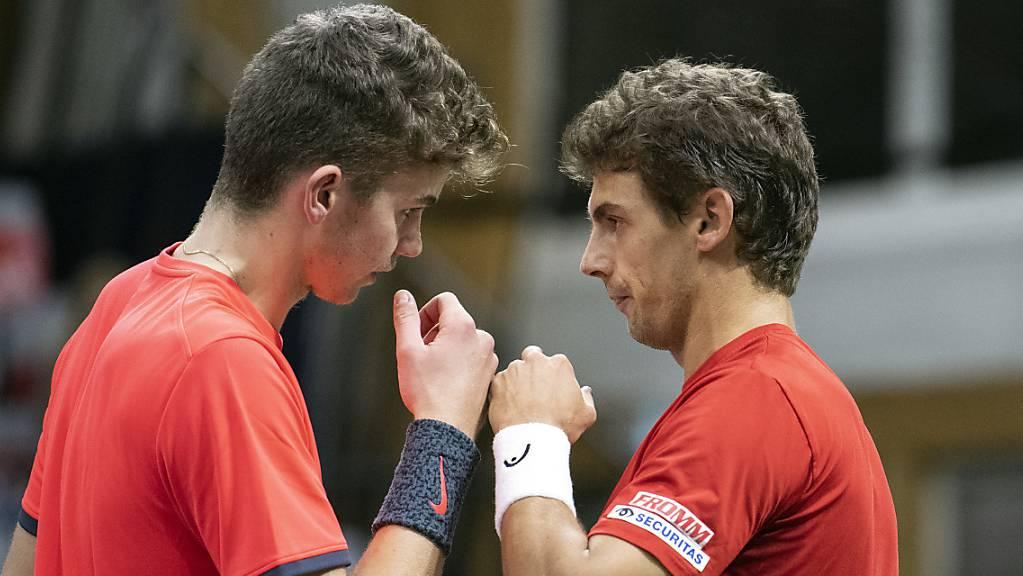 Jérôme Kym und Henri Laaksonen bilden in Bratislava wie im Februar gegen Russland das Schweizer Doppel