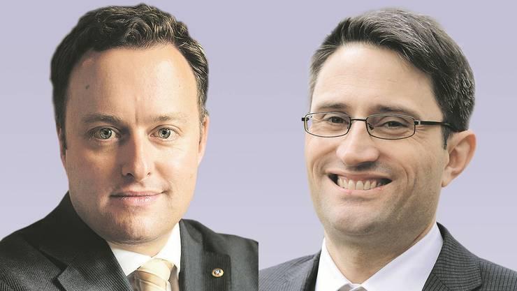 Einst Gegner, bald Verbündete: Die Parteipräsidenten Frehner (SVP, links) und Engelberger (CVP).