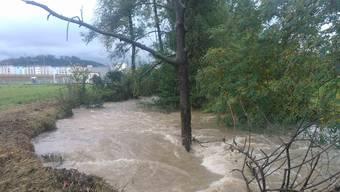 Hochwasser an der Suhre im 2015, bei Hirschthal.