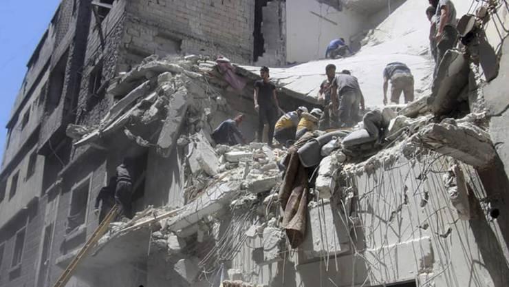 Zerstörung überall in der nordwestsyrischen Provinz Idlib (im Bild die Ortschaft Ariha).
