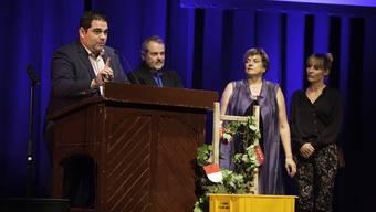 Laurent, Roger, Marlies und Trina Saudan begrüssen die 431 Gäste.