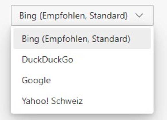 Edge stellt diese Suchmaschinen zur Auswahl. Weitere lassen sich manuell hinzufügen.