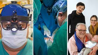 Martin Meuli bei seiner Arbeit im Operationssaal. Für die Familien seiner Patienten (rechts) bleibt er auch nach der Operation da.