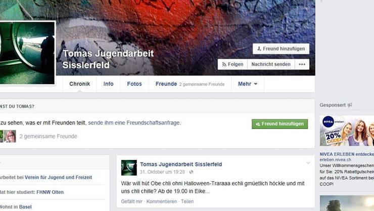 Termine werden in der offenen Jugendarbeit Sisslerfeld via Facebook verbreitet.