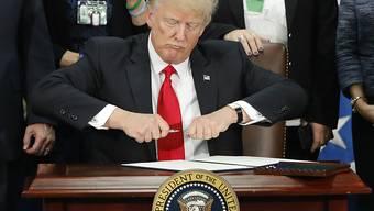 Trump kurz vor der Unterzeichnung des Dekrets zum Bau der Mauer an der Grenze zu Mexiko.