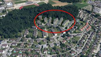 Ein neues Quartier: Areal Isleren (rot umrandet) in Rudolfstetten. Visualisierung: pd