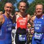 Aeneas Appius im Kreis der weiteren Medaillengewinner in der Kategorie M55-59 an der Duathlon-WM im Sprint.