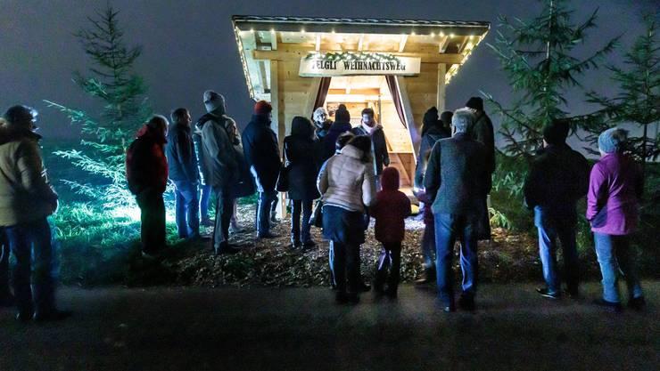 Der Weihnachtsweg auf dem Zelgli-Hof in Biezwil ist ungefähr 1km lang.