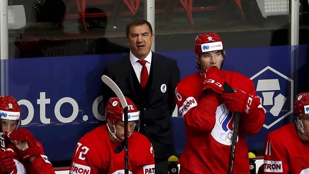 Konsternierte Russen: Nach dem Gruppensieg in der Vorrunde verlieren sie im Viertelfinal gegen Kanada, das sich in die Viertelfinals gezittert hat
