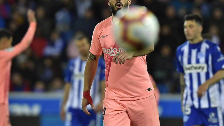 Dieser Schuss sitzt: Barcelonas Goalgetter Luis Suarez nimmt sein Penaltytor zum 2:0 zur Kenntnis
