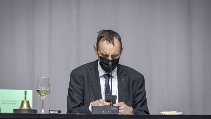 Der neue Grossratspräsident Pascal Furer. Aufgenommen am 5. Januar 2021 bei der Grossratssitzung in Spreitenbach