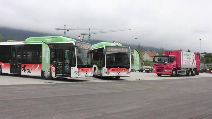 Die neuen Gasbusse stehen bereit