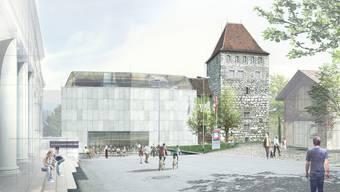 Alt und neu verknüpft: Das Aarauer Schlössli mit dem neuen Annexbau am Schlossplatz (Visualisierung). (zvg)