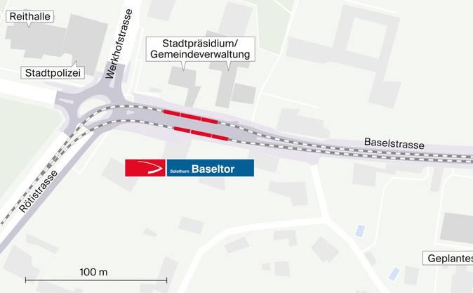 Umbau auf der Baselstrasse: Schon im Baseltorkreisel soll ein Doppelgleis geführt werden.