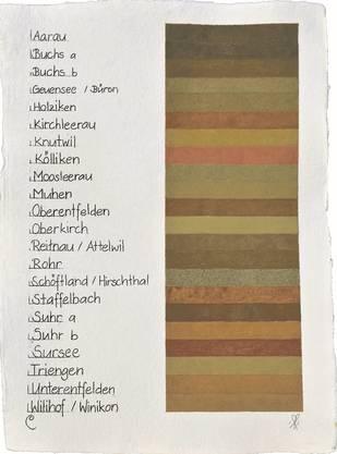 So sehen die «Erdfarben» der verschiedenen Gemeinden aus.