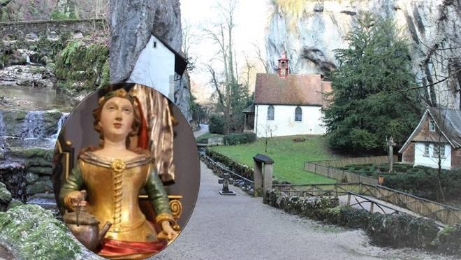 Romantischer Schluchtweg mit  mystischer Einsiedelei und der einmaligen barocken St. Verena Büste.