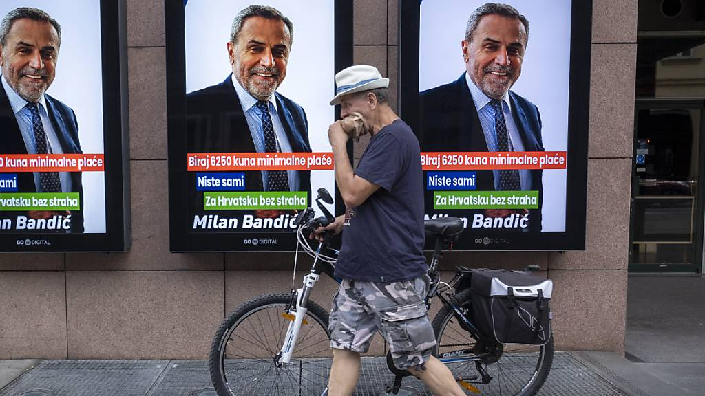 Ein Wahlplakat von Zagrebs Bürgermeister Milan Bandic.