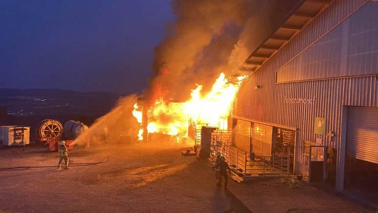 Am Sonntagabend brach ein Brand beim Milchhaus aus.