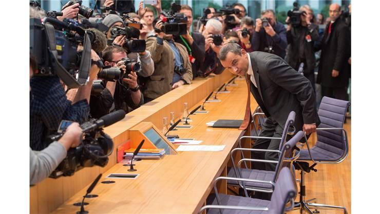 Sein letzter grosser Auftritt: Der ehemalige Bundestagsabgeordnete Sebastian Edathy vor der Bundespressekonferenz.