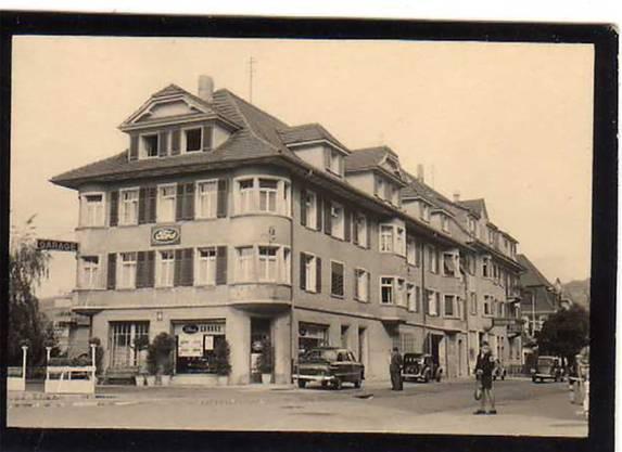 Die Bifang-Garage an der Ecke Florastrasse/Unterführungsstrasse um 1950.