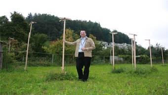Hier kommt das neue Pfadilokal hin.Projektleiter Martin Banz freut sich schon auf den Aufbau des Heims.