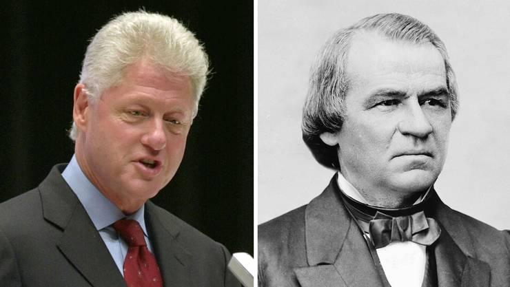Gegen diese zwei US-Präsidenten wurden ebenfalls Impeachment-Verfahren eingeleitet: Bill Clinton (links) und Andrew Johnson (rechts).