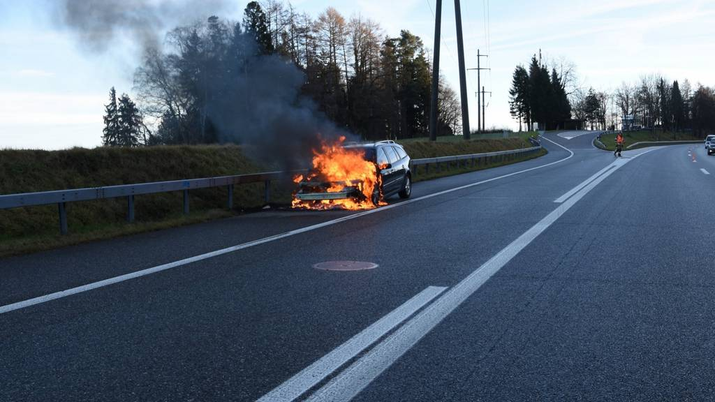 Auf der A1 geriet ein Auto in Vollbrand.