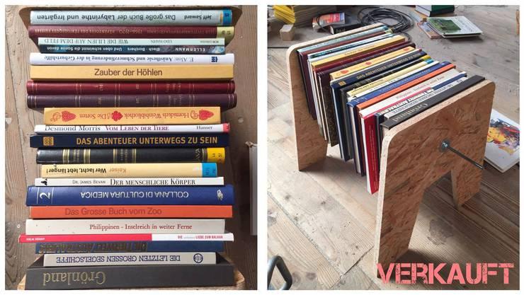 """Die Bücher dieses Hockers stammen aus der """"usVers""""-Beiz der Badenfahrt."""