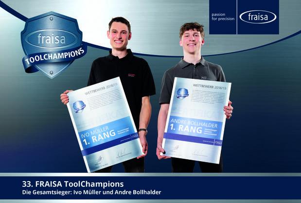 Die FRAISA ToolChampions 2018/2019: Ivo Müller (links) aus Zug in der Kategorie «CNC-Bearbeitung» und Andre Bollhalder aus Böttstein in der Kategorie «Konventionelle Bearbeitung».