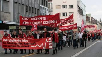 In diesem Jahr ziehen die Gewerkschafter nicht durch Aarau. (Archiv/Andrea Marthaler)