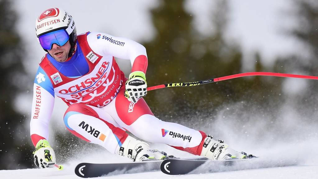 Beat Feuz of Switzerland skis down the course during a training run for the men's World Cup downhill ski race in Lake Louise, Alberta, on Thursday, Nov. 22, 2018. (Frank Gunn/The Canadian Press via AP)