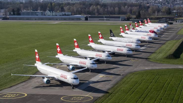 Die meisten Swiss-Flugzeuge werden auch weiterhin nicht zum Einsatz kommen.