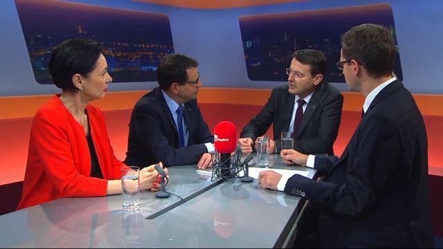 Ja wer denn nun? Die Parteipräsidenten von CVP, FDP und SVP diskutierten am Montagabend die Regierungsratskandidaten für den zweiten Wahlgang.