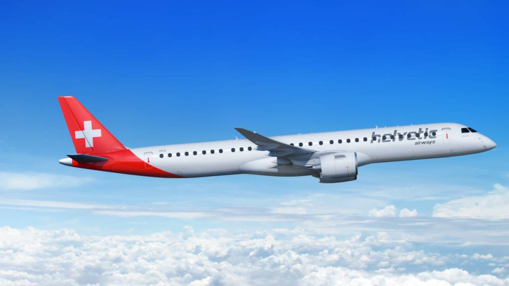 Die Regionalfluggesellschaft Helvetic hat am Mittwoch den Erhalt seines ersten Embraer E195-E2-Jets angekündigt. (Firmenbild)