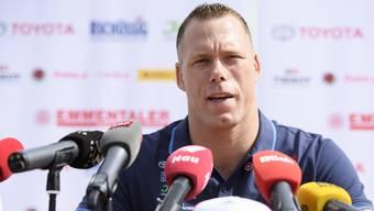 Matthias Sempach gab am Freitag an einer Medienkonferenz vor dem Berner Kantonalfest vom Sonntag in Utzenstorf den Rücktritt bekannt.