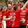 Jubel über den dritten Saisonsieg: Der HSC Suhr Aarau gewinnt auch sein drittes Heimspiel der Saison.