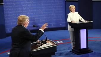 Impressionen aus der dritten und letzten TV-Debatte der US-Präsidentschaftskandidaten Clinton und Trump