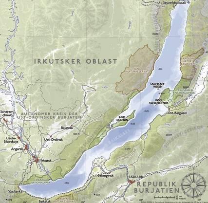 Bromeis plant, den See von Süd nach Nord der Küste entlang zu durchschwimmen. (Karte: Wikipedia)