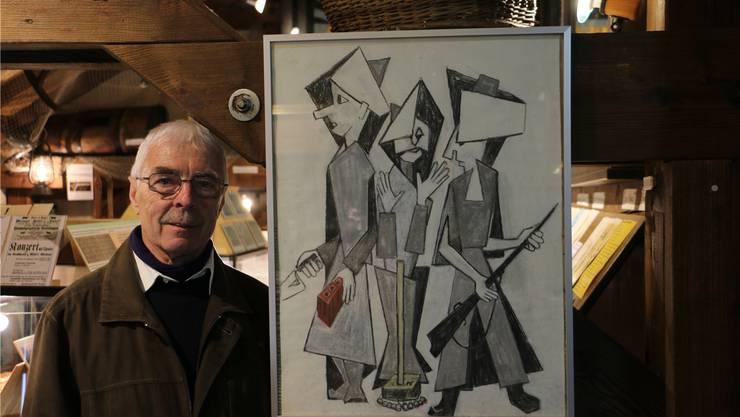 Kurator Gerhard Trottmann hat die Sonderausstellung «Satirische Zeichnungen von Mathilde Riede-Hurt» organisiert. Dennis Kalt