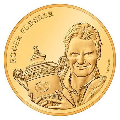 Die Federer-Goldmünze zeigt den Wimbledon-Sieg 2009.