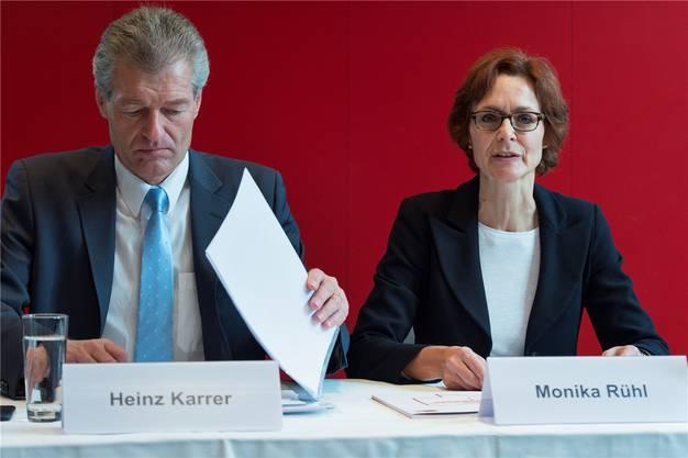 Economiesuisse-Spitze: Heinz Karrer und Monika Rühl.