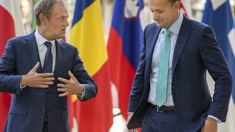 EU-Ratspräsident Donald Tusk (links) und der irische Premierminister Leo Varadkar (rechts) vor ihrem Treffen in Brüssel.