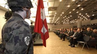 Das letzte Antreten von 180 Wehrmänner im Kongresszentrum Basel.