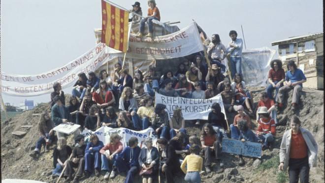 Politisierten Bevölkerung und Stromwirtschaft: Besetzer auf dem Gelände des einst in Kaiseraugst geplanten Kernkraftwerks. Foto: RDB/SI