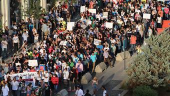 Die Demonstranten in Beirut kritisieren die Regierung wegen der Abfallberge.